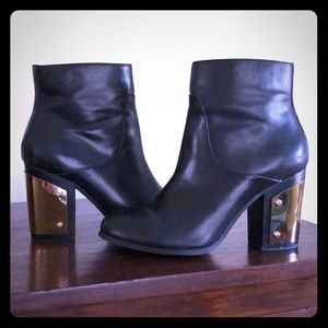 Cool black leather booties!